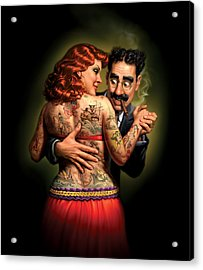 Lydia The Tattooed Lady Acrylic Print by Mark Fredrickson