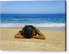Lying On The Beach Acrylic Print by Aged Pixel