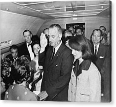 Lyndon Johnson Sworn In Acrylic Print by Cecil W. Stoughton