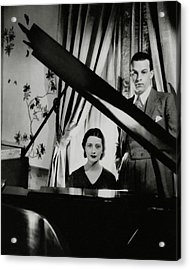 Lynn Fontanne And Alfred Lunt At A Piano Acrylic Print by Cecil Beaton