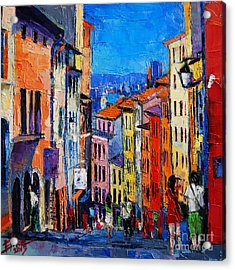 Lyon Colorful Cityscape Acrylic Print by Mona Edulesco