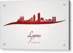 Lyons Skyline In Red Acrylic Print