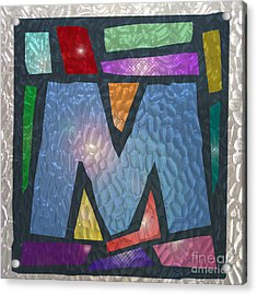 M As Stained Glass Acrylic Print