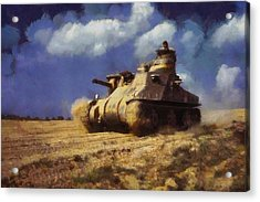 Acrylic Print featuring the painting M3 Lee Tank by Kai Saarto
