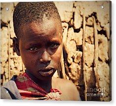 Maasai Child Portrait In Tanzania Acrylic Print by Michal Bednarek