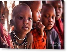 Maasai Children In School In Tanzania Acrylic Print by Michal Bednarek