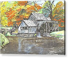 Acrylic Print featuring the painting Mabry Grist Mill In Virginia Usa by Carol Wisniewski