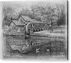 Mabry Mill Pencil Drawing Acrylic Print