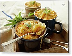 Macaroni And Cheese Infused With Acrylic Print by Lew Robertson