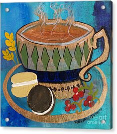 Acrylic Print featuring the painting Macaroons And Tea by Robin Maria Pedrero