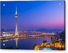 Macau Tower In China Acrylic Print by Nattee Chalermtiragool