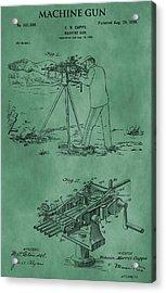 Machine Gun Patent Green Acrylic Print by Dan Sproul