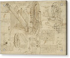 Machines To Lift Water Draw Water From Well And Bring It Into Houses From Atlantic Codex  Acrylic Print by Leonardo Da Vinci
