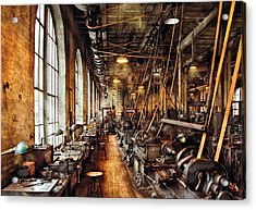 Machinist - Machine Shop Circa 1900's Acrylic Print by Mike Savad