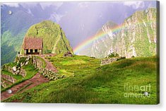 Machu Picchu Rainbow Acrylic Print by Michele Penner