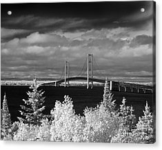 Macinac Bridge - Infrared Acrylic Print by Larry Carr