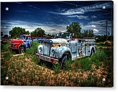 Acrylic Print featuring the photograph Mack Fire Truck And Graffiti Fire Truck by Ken Smith