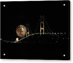 Mackinac Bridge 50th Anniversary Fireworks Acrylic Print