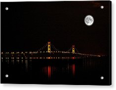 Mackinac Bridge And Moon Acrylic Print