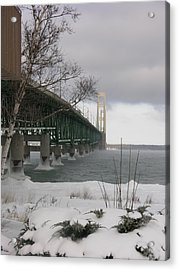 Mackinac Bridge At Christmas Acrylic Print