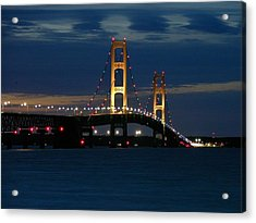 Mackinac Bridge At Dusk Acrylic Print by Keith Stokes