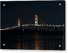 Mackinac Bridge At Night Acrylic Print by Keith Stokes