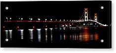 Mackinac Bridge At Night Acrylic Print by Michael Donahue