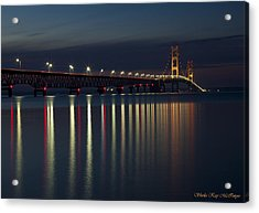 Mackinac Bridge At Night Acrylic Print