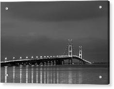 Mackinac Bridge Black And White Acrylic Print