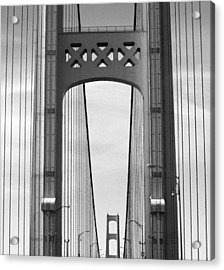 Mackinac Bridge Detail 2 Bw Acrylic Print