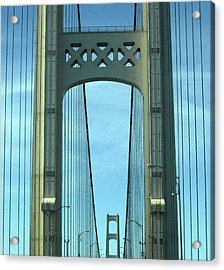 Mackinac Bridge Detail 2 Acrylic Print by Mary Bedy