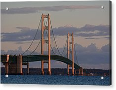 Mackinac Bridge In The Morning Sun Acrylic Print by Keith Stokes