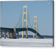 Mackinac Bridge In Winter Acrylic Print by Keith Stokes