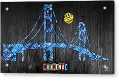 Mackinac Bridge Michigan License Plate Art Acrylic Print by Design Turnpike