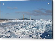 Mackinac Bridge With Ice Windrow Acrylic Print by Keith Stokes