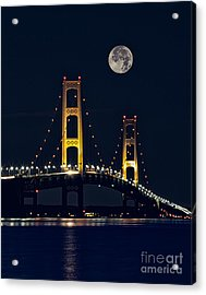 Mackinac Bridge With Moonrise Acrylic Print by Todd Bielby