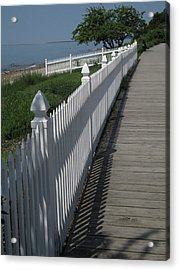 Mackinac Island Boardwalk Acrylic Print by Mary Bedy