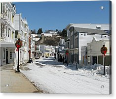 Mackinac Island In Winter Acrylic Print by Keith Stokes