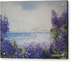 Acrylic Print featuring the painting Mackinac Island Lilacs by Sandra Strohschein