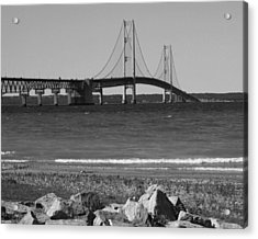 Acrylic Print featuring the photograph Mackinaw Bridge Black And White by Bill Woodstock