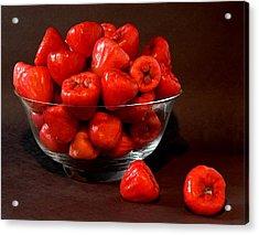 Macopa Fruit  In A Glass Bowl Acrylic Print by Harold Bonacquist
