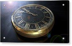 Macro Antique Watch Midnight Acrylic Print by Allan Swart