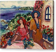 Acrylic Print featuring the painting Madame And Mademoiselle by Elaine Elliott