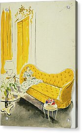 Madame Luce On A Yellow Sofa Acrylic Print by Cecil Beaton
