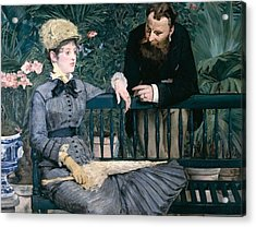 Madame Manet In Greenhouse Acrylic Print by Edouard Manet