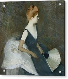 Madame Marthe Letellier Sitting On A Sofa Acrylic Print by Paul Cesar Helleu
