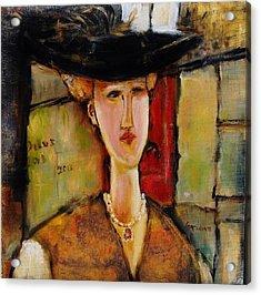 Madame Pompador As A Tribute To Modigliani Acrylic Print