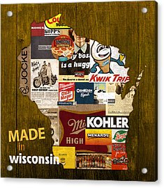 Made In Wisconsin Products Vintage Map On Wood Acrylic Print by Design Turnpike