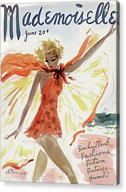 Mademoiselle Cover Featuring A Model At The Beach Acrylic Print