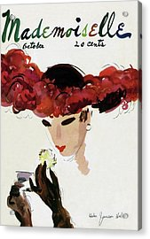 Mademoiselle Cover Featuring A Woman In A Red Acrylic Print
